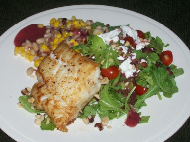 Pan Seared Cod with New England Succotash and Cranberry Vinaigrette