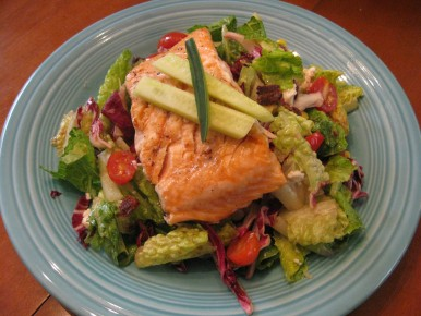 Salmon Salad with Purple Pomegranate Vinaigrette