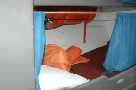 This is one of the bunks. Very little headroom-even for me!