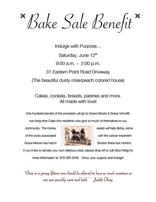 Bake Sale June 12 A Fundraiser For Grace Moceri And Grace