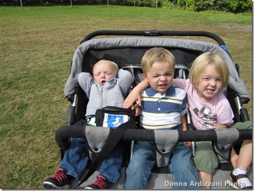 Cole, Owen Maddie, all in the sun GMG Donna's grandchildren apple picking in Maine-1