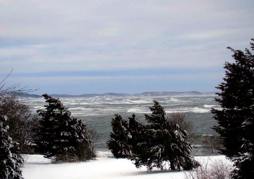 storm waves racing into Ipswich Bay from the pasture at Annisquam