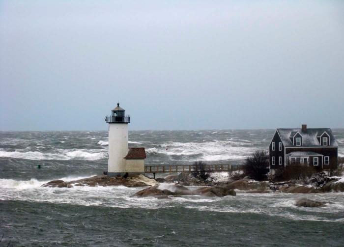 storm surf attempting to claim Annisquam Light