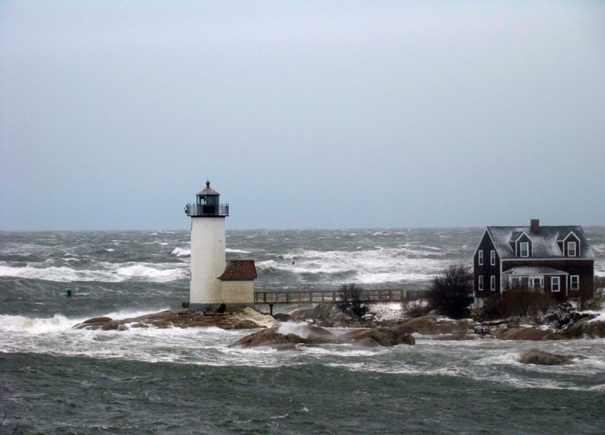 storm surf attempting to claim Annisquam Light