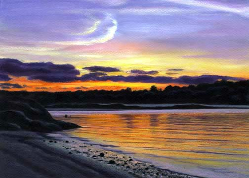 sunset over Wingaersheek Beach from Cambridge Beach in Annisquam