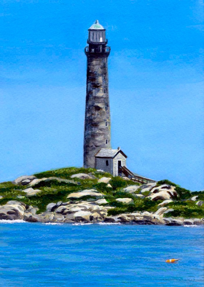 Painting of one of the twin lights on Thacher Island
