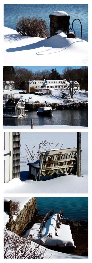 photo collage of winter snow scenes around Annisquam