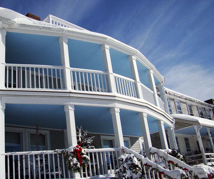 Porches On Home In Annisquam With Porch Ceilings Painted Sky Blue