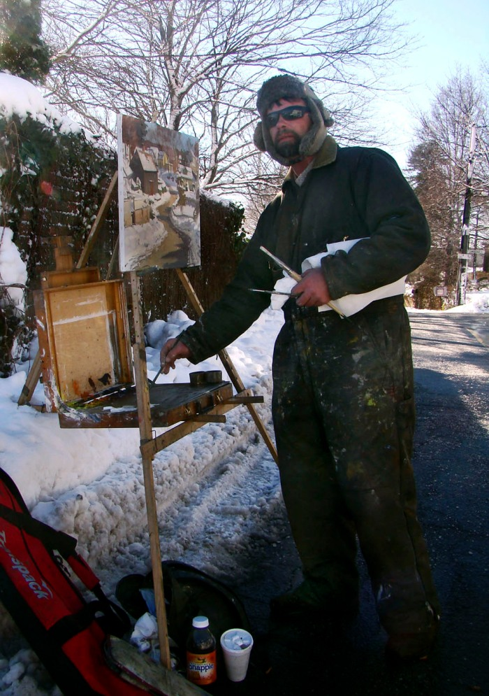 Painter Caleb Stone capturing Annisquam Village En Plein Air on a cold January afternoon
