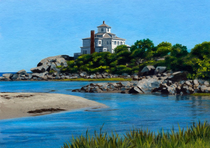 painting of great house at Good Harbor Beach / Bass Rocks