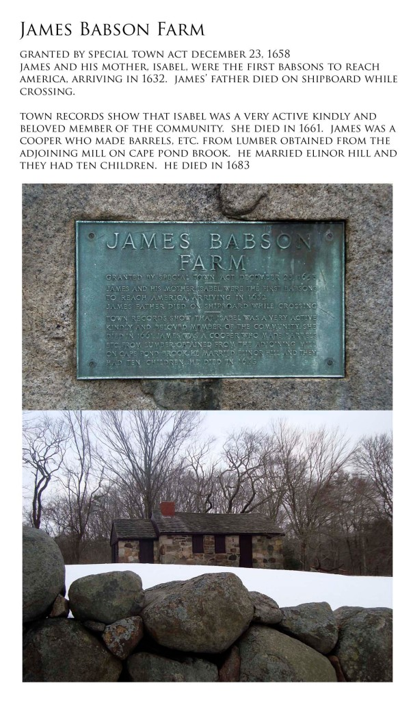 photos of James Babson Farm Cooperage and historical marker