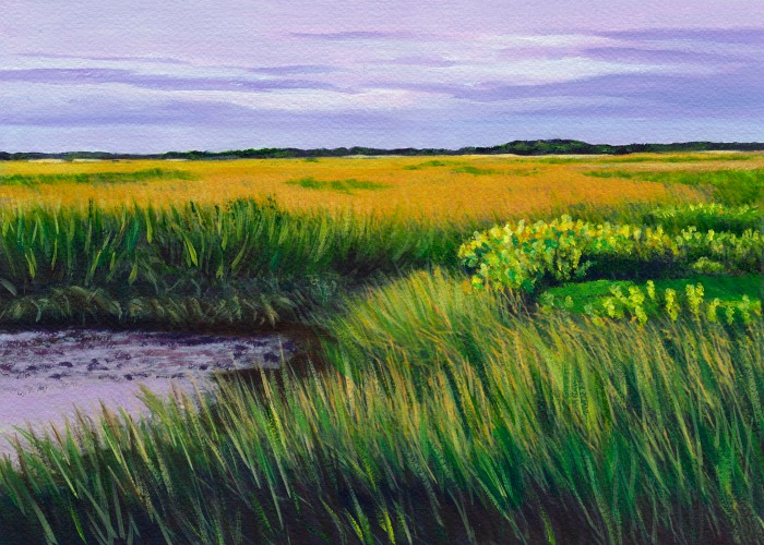 painting of Plum Island marsh by Ellen Lefavour