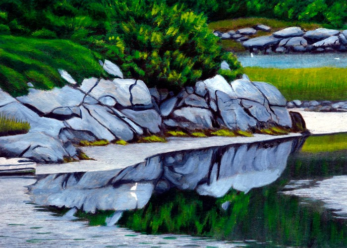 painting of egret feeding at Goose Cove in the low tide shallows
