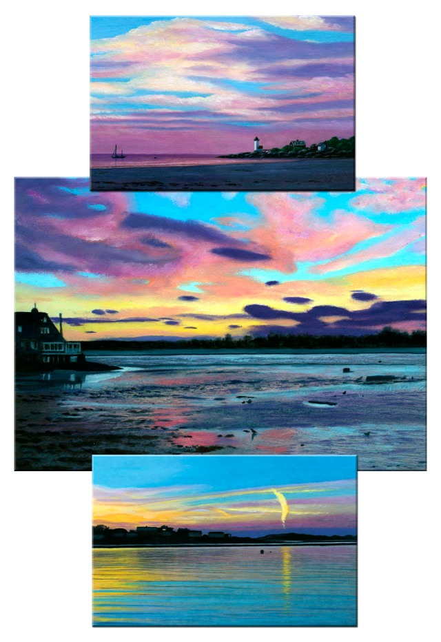 Paintings of three sunsets and unique atmospheric conditions they create