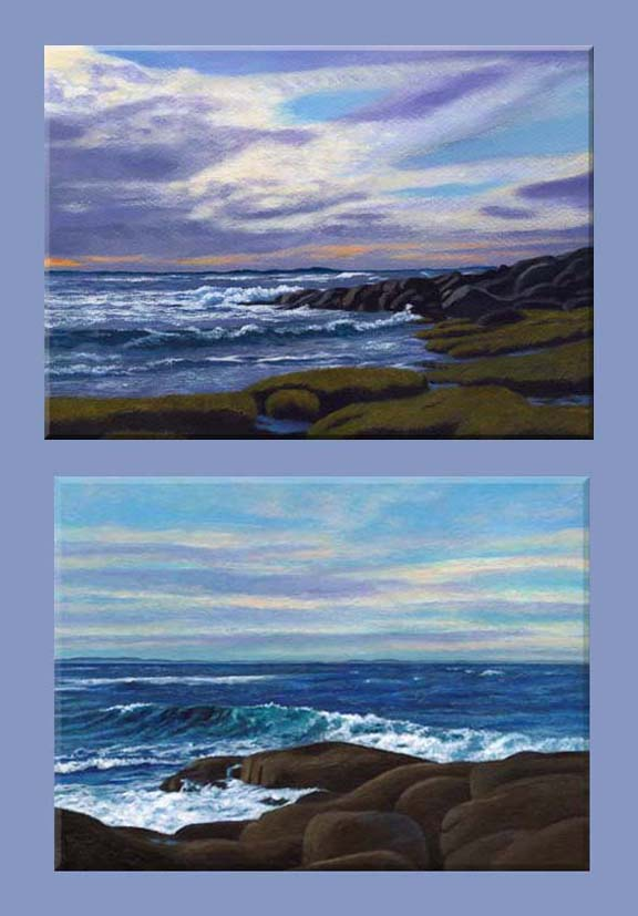 paintings of waves breaking on the rocks of Cape Ann