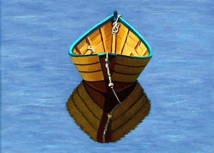painting of a yellow dory reflecting in the calm water