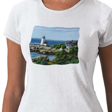 Painting of Annisquam Lighthouse on a woman's t-shirt