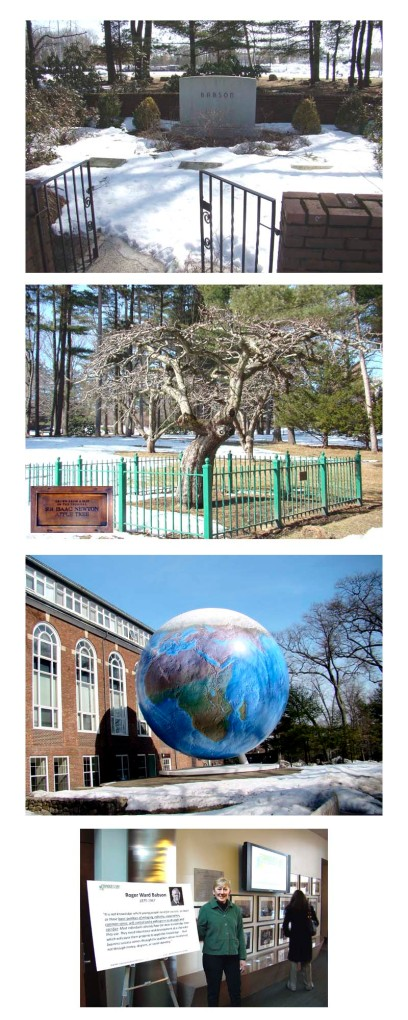 Roger Babson gravesite, Sir Isaac Newton apple tree, Babson Globe