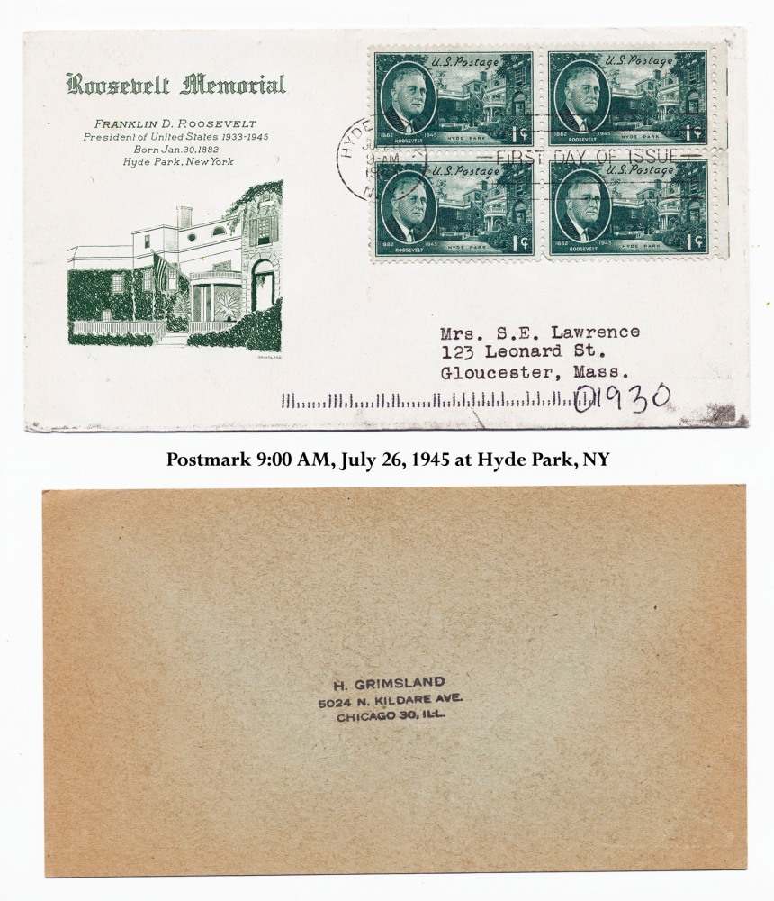 1945 Roosevelt Memorial Stamps and envelope mailed 1945, arrived 2011
