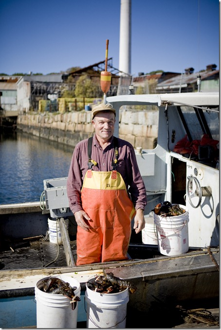 Peter Prybot on his fishing boat around Pigeon Cove Wharf where he has sets traps and is getting ready to collect them.  Pigeon Cove Wharf, Rockport MA