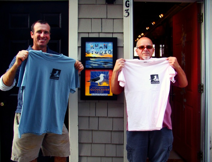 Good Morning Gloucester t-shirts - only at Khan Studio and the Good Morning Gloucester Gallery on Rocky Neck
