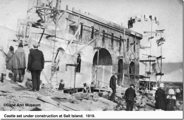 "salt island 1919.  constructing the set for movie serial ""bride 13"".  myrtle cameron collection."