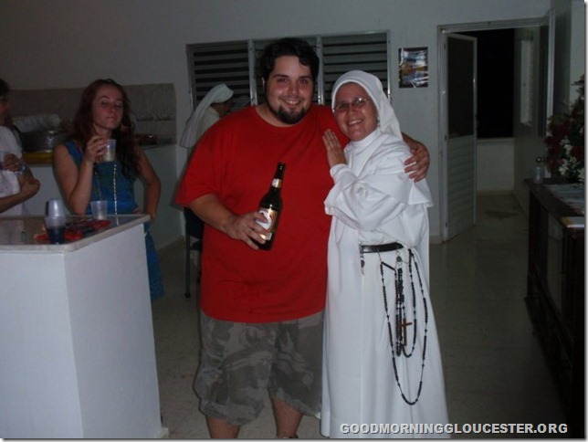 paul and nun sharing a beer