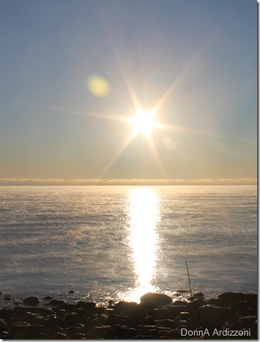 Sunrise with sea smoke on Shore Road