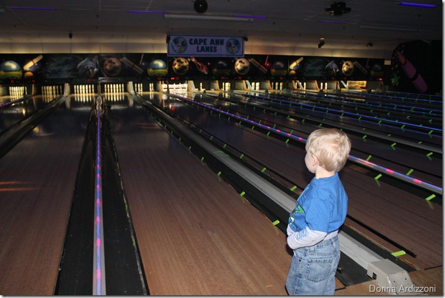 Cole waiting for the ball to get down the lane, it did take awhile