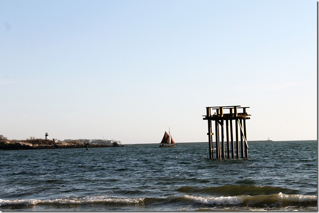March 7, 2012 red sail boat with greasy pole