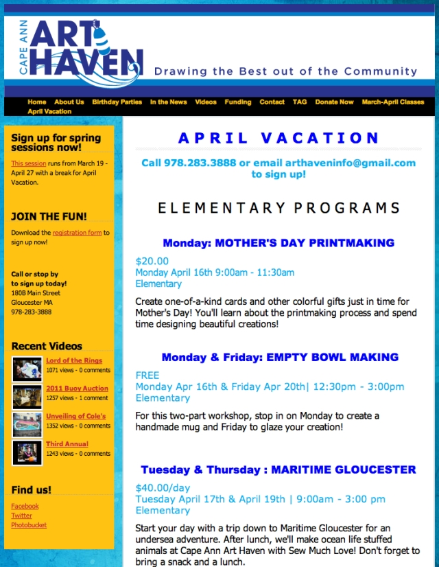 April Vacation programs at Art Haven