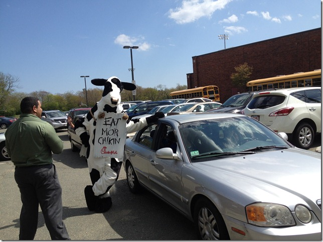 chick-fil-a cow and car