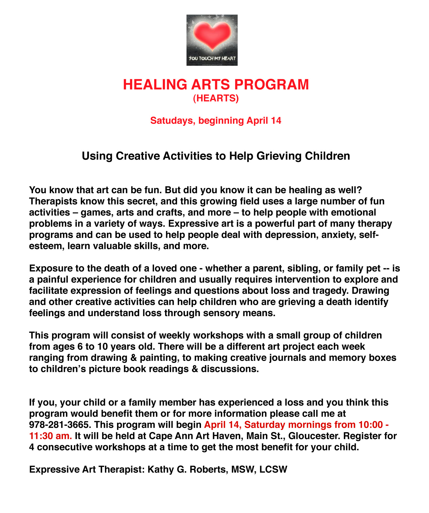 Healing Arts Program for Children – Good Morning Gloucester
