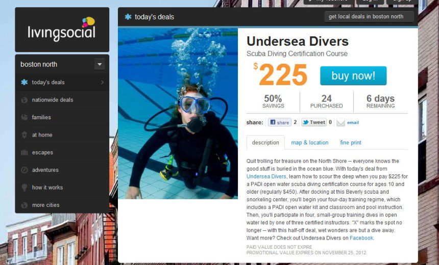 undersea divers living social deal