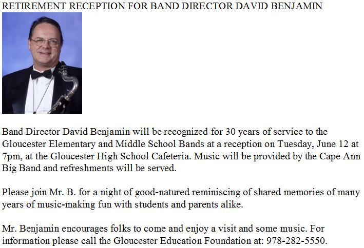 retirement reception for band director david benjamin good morning