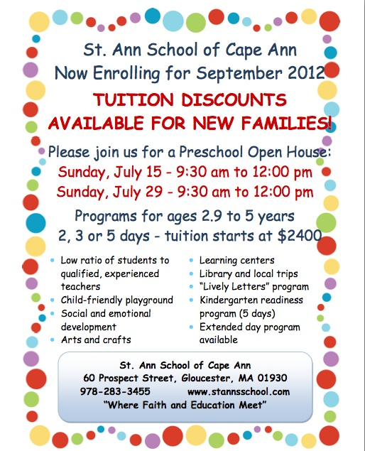 St Ann School Now Enrolling Preschool Open House