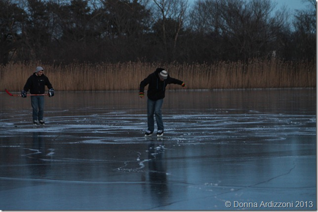 January 5, 2012 playing hockey on Clarke Pond
