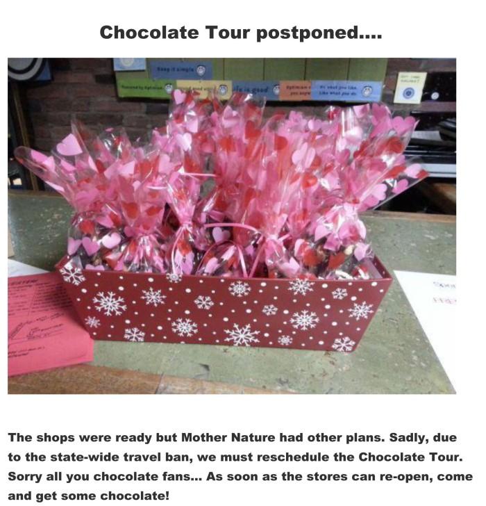 Chocolate Tour postponed