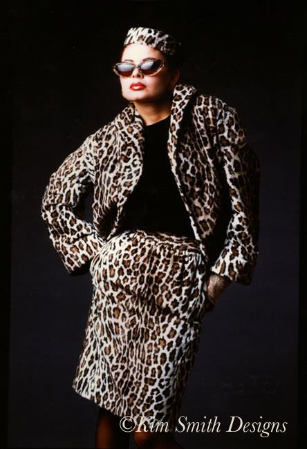 Gail Huff Leopard skin pill box hat suit Dylan ©Kim Smith Designs