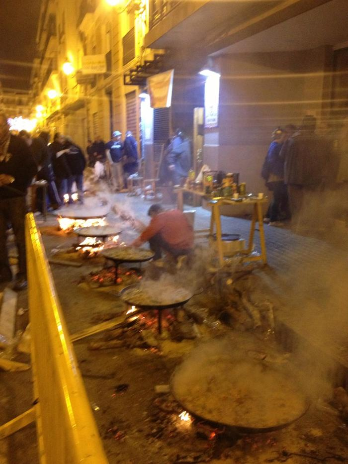 Paella cooking right in the street.