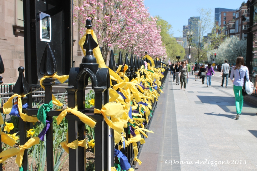 April 28, 2013 a sea of yellow ribbons on Boylston