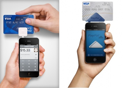 The Square on the left and PayPal Reader on the right