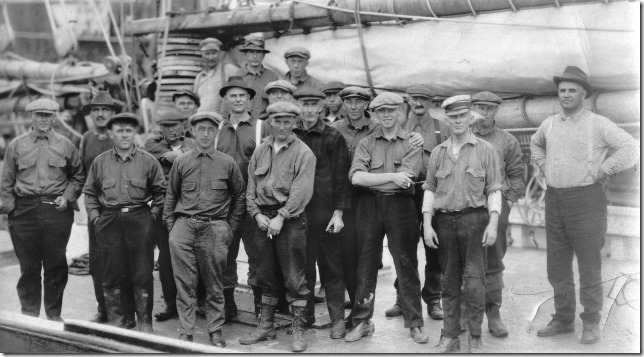 "from verso:  ""Elsie's crew, 1921 International Fishermen's Races.""  photo: Cox Bros., Halifax N.S.