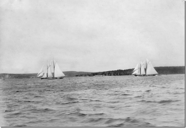"from verso:  ""Start of the first race of the Internatonal Race, showing 'Elsie' in the lead with Bluenose in rear.""  1921, Halifax Nova Scotia"