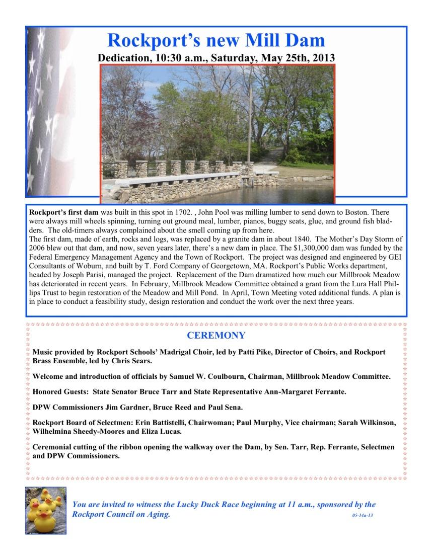 Dam Dedication program 05-25-13