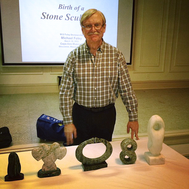 Michael Foley at a recent presentation at the Cape Ann Museum - some of these works are being sold at the gallery
