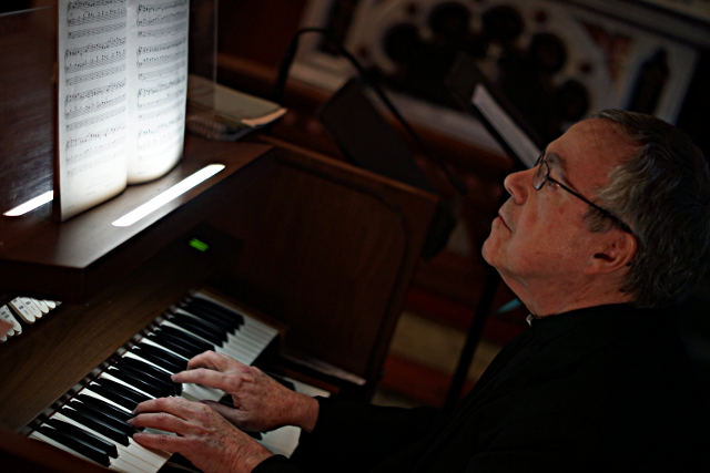 Fr Kiley on the organ