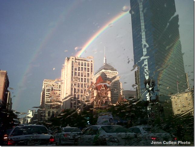 Double Rainbow over Boston Marathon Bombing Memorial.2012.06.17