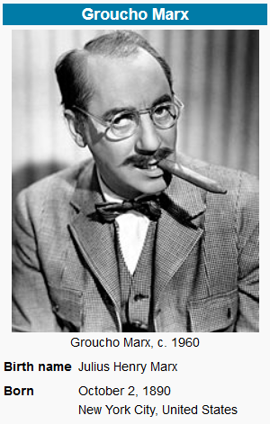Julius Henry Groucho Marx Quote Of The Week From Greg