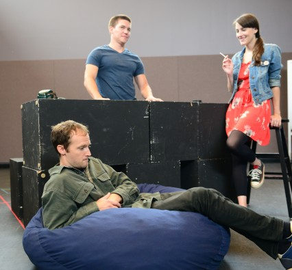L to R: Alex Pollock as Warren; Jimi Stanton as Dennis and Amanda Collins as Jessica